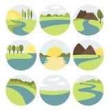 Ícones do rio e da paisagem Imagens de Stock