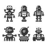 Ícones do robô ajustados no fundo branco Vetor ilustração royalty free