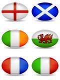 Ícones do rugby das nações de RBS 6 ilustração royalty free