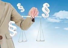 ícones do símbolo da seção 3D e escalas do equilíbrio de justiça Fotografia de Stock