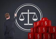 ícones do símbolo da seção 3D e escalas do equilíbrio de justiça do desenho do homem de negócios Fotografia de Stock