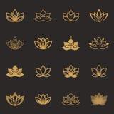Ícones do símbolo de Lotus Etiquetas florais do vetor para a indústria do bem-estar Imagens de Stock