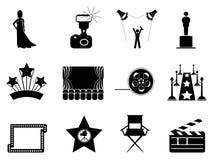 Ícones do símbolo do filme e do Oscar ilustração stock