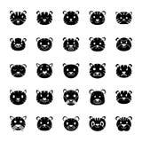 Ícones do sólido da cara do tigre ilustração do vetor