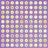 100 ícones do salão de beleza ajustados no estilo dos desenhos animados Imagem de Stock Royalty Free
