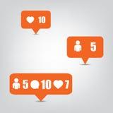 Ícones do seguidor com sombra no fundo cinzento Foto de Stock Royalty Free