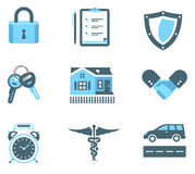 Ícones do seguro do aperto de mão Fotografia de Stock Royalty Free