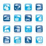 Ícones do seguro, do risco e do negócio Imagem de Stock Royalty Free
