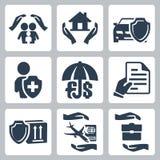 Ícones do seguro do vetor ajustados Fotografia de Stock Royalty Free