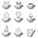 Ícones do seguro do vetor ajustados Fotos de Stock