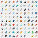 100 ícones do seo e da Web ajustaram-se, o estilo 3d isométrico Fotografia de Stock
