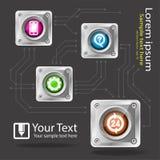 Ícones do serviço ao cliente, sinal do serviço brilhante com placas de circuito ilustração do vetor