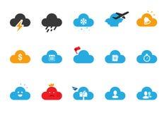 Ícones do serviço da nuvem - a ilustração ajustou 3 ilustração stock