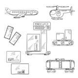 Ícones do serviço de entrega do ar e do trilho Fotos de Stock Royalty Free