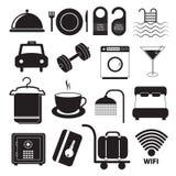 Ícones do serviço de hotel ajustados Imagem de Stock
