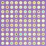 100 ícones do serviço de hotel ajustados no estilo dos desenhos animados Fotografia de Stock