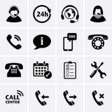 Ícones do serviço do centro de atendimento Fotografia de Stock Royalty Free