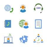 Ícones do serviço do centro de atendimento ajustados dos contatos móveis ilustração stock