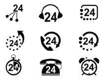 ícones do serviço 24-hrs Imagens de Stock Royalty Free