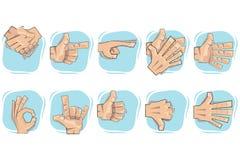 Ícones do sinal da mão do Doodle Imagem de Stock Royalty Free