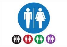 Ícones do sinal da mulher do homem do pictograma, sinal do toalete ou ícone do toalete ilustração stock
