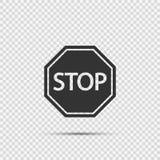 Ícones do sinal da parada no fundo transparente ilustração do vetor
