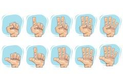Ícones do sinal de número da mão do Doodle Foto de Stock