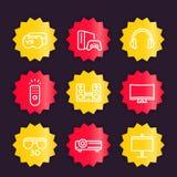 Ícones do sistema do home entertainment ajustados ilustração royalty free