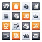 Ícones do site e do Internet sobre o fundo da cor imagens de stock