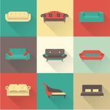 Ícones do sofá do vetor Fotos de Stock Royalty Free