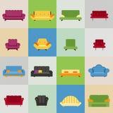 Ícones do sofá e da poltrona Fotografia de Stock