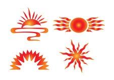 Ícones do sol do vetor Fotografia de Stock