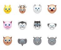 Ícones do sorriso dos animais ajustados Imagens de Stock Royalty Free