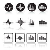 Ícones do soundwave da música ajustados Ícones do pulso ajustados Fotografia de Stock Royalty Free