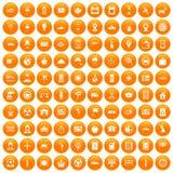 100 ícones do táxi ajustados alaranjados ilustração royalty free