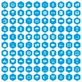 100 ícones do tênis ajustados azuis ilustração stock