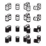 Ícones do tambor de óleo ajustados Fotos de Stock