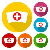 Ícones do tampão da enfermeira com grupo longo da sombra Fotos de Stock Royalty Free