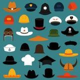 Ícones do tampão e do chapéu Fotografia de Stock Royalty Free