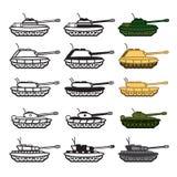 Ícones do tanque ajustados Vetor EPS 10 Foto de Stock