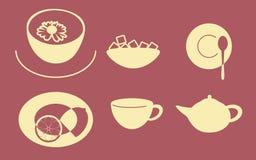 Ícones do tea party Foto de Stock Royalty Free