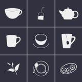 Ícones do tea party Fotos de Stock Royalty Free