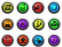 Ícones do telefone ajustados Fotos de Stock Royalty Free