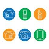 Ícones do telefone redondos Imagem de Stock