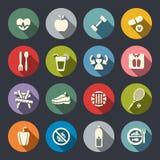 Ícones do tema da dieta e da aptidão ajustados. Liso ilustração stock