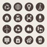 Ícones do tema de Eco ajustados Imagens de Stock Royalty Free