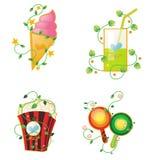 Ícones do tema do alimento Imagem de Stock