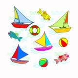 Ícones do tema do mar Imagem de Stock Royalty Free