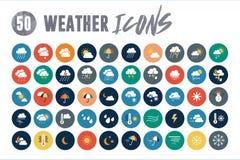 50 ícones do tempo Imagens de Stock