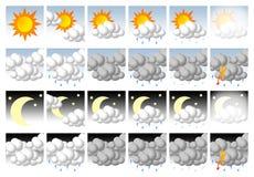 Ícones do tempo ajustados Imagens de Stock